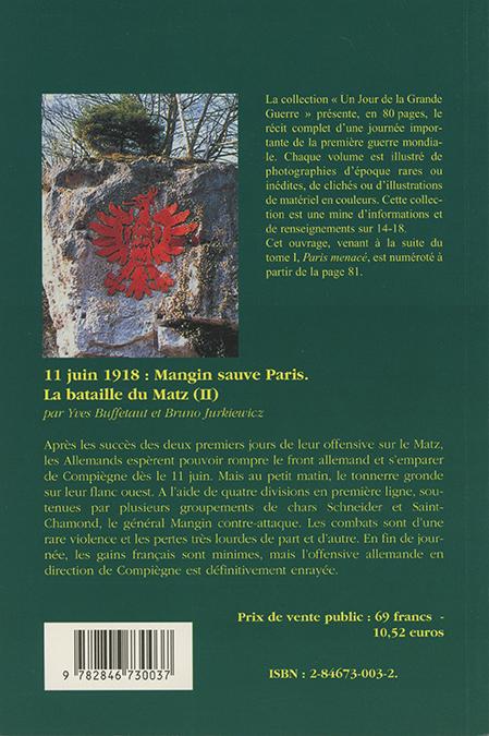 Mangin sauve Paris, bataille du Matz, tome II - 4e de couverture