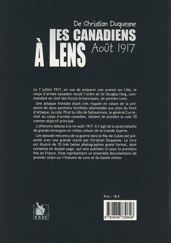 Christian Duquesne - Canadiens à Lens 4è de couverture