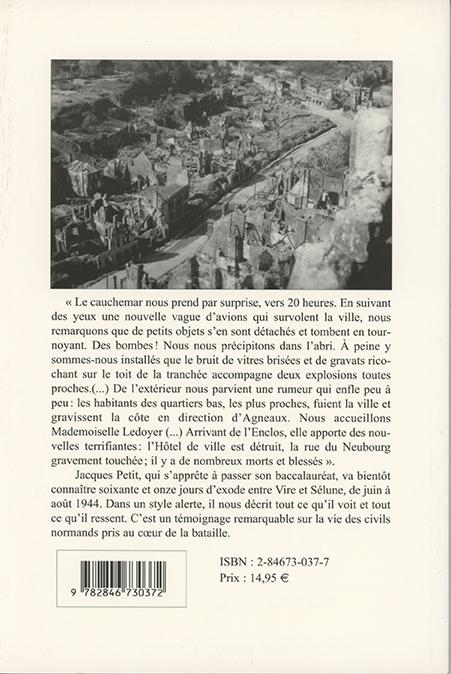Sous le bombardement d'Avranches, à l'été 1944- 4e de couverture