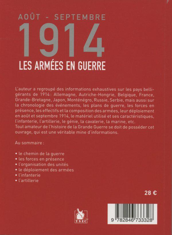 Août - septembre 1914, les armées en guerre - 4e de couverture