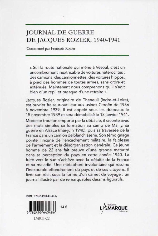 La débâcle - Journal de guerre 1940-1941 - 4e de couverture